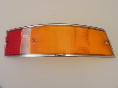 (New) Porsche European Right Tail Light Lens with Silver Trim - 1969-72
