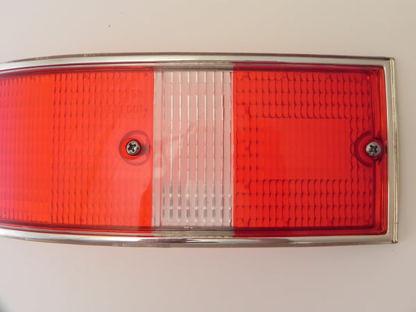 (New) 911/912 Left Side USA Tail Light Lens with Silver Trim - 1969-72