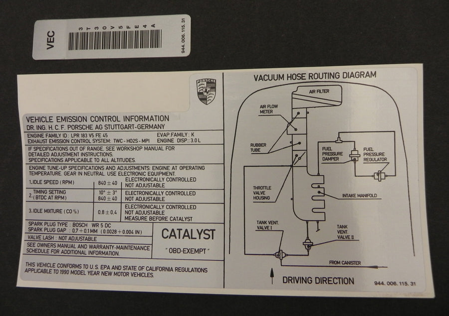 (New) 944S2 Emission Control Sticker 1989
