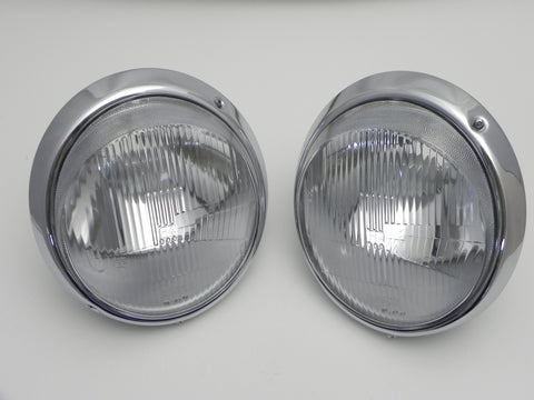 (New) Pair of H4 Headlight Assemblies w/ NOS Bosch Lenses - 1965-89