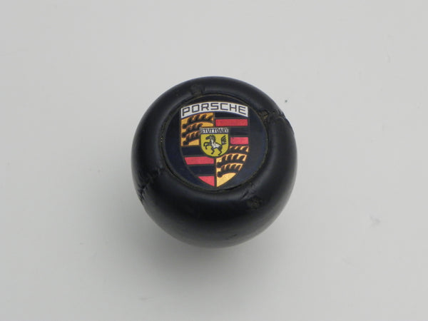 (Used) Amco Black Leather Wrapped Shift Knob w/ Porsche Crest