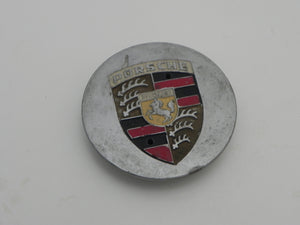 (Used) 928/944/964/968/986/993/996 Silver Center Cap w/ Full Colored Porsche Crest - 1978-2005