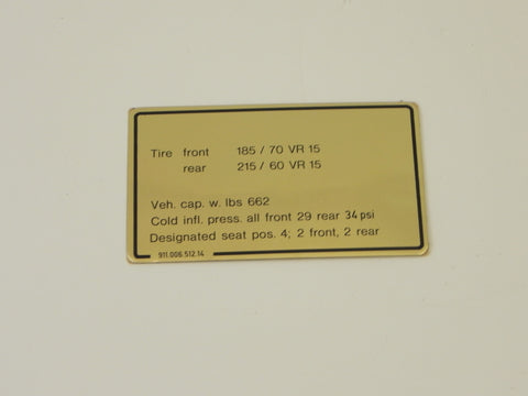 (New) 911SC Tire Pressure Decal - 1981-83