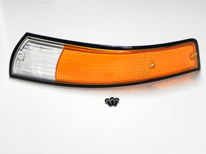 (New) 911 Black Trim Euro Front Left Amber/Clear Turn Signal Lens - 1973