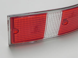 (New) 911/912 Right Side USA Red/White Taillight Lens with Silver Trim - 1969-72