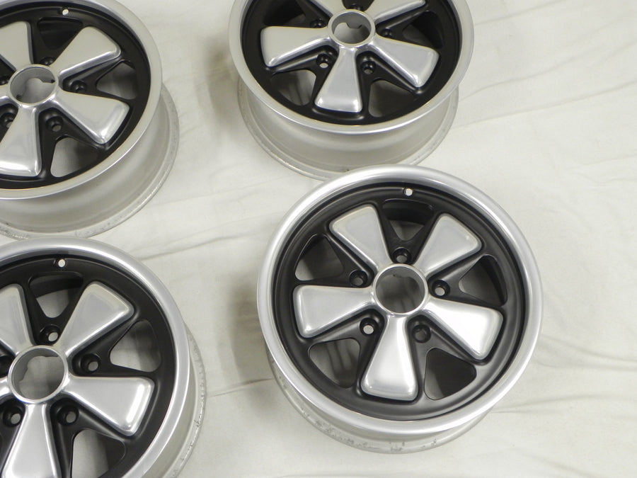 (Refinished) Complete Set of 4 Late 6j x 15 Forged Alloy Flat Six Fuchs Wheels - 1965-89