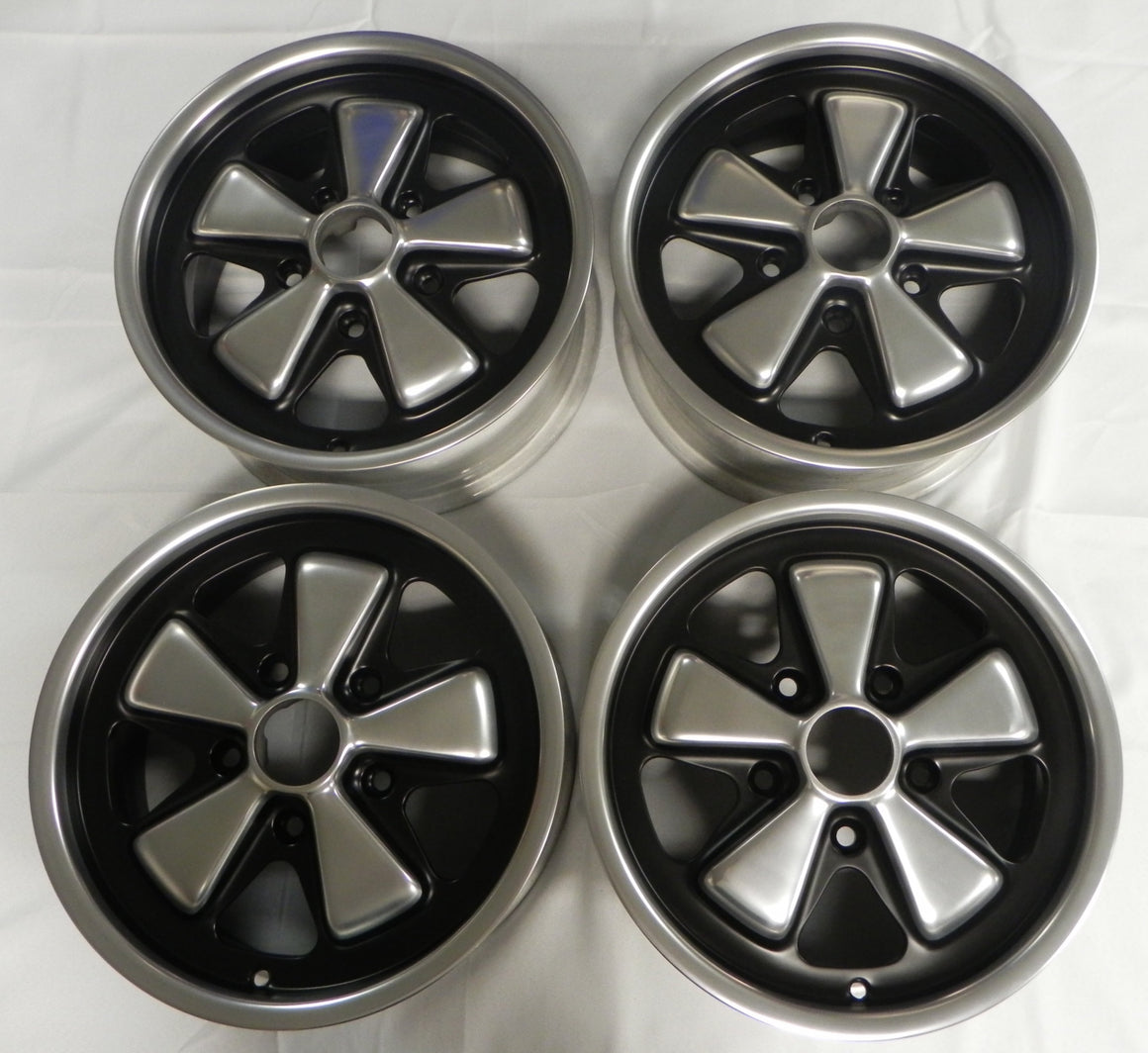 (Refinished) Complete Set of 4 Early 6j x 15 Forged Alloy Flat Six Fuchs Wheels - 1965-89