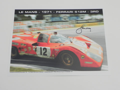 (NOS)  Le Mans Ferrari 512M Glossed Photograph Autographed by Sam Posey