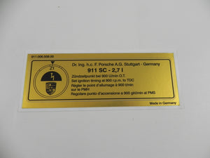 (New) 911 Carrera 2.7L Timing Decal - 1972-77