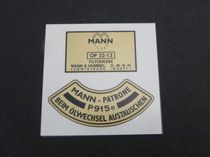 (New) 356/912 Late Mann Oil Filter Canister Decal Set