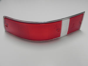 (New) 911/912 Left Side USA Red/White Taillight Lens with Silver Trim - 1969-72