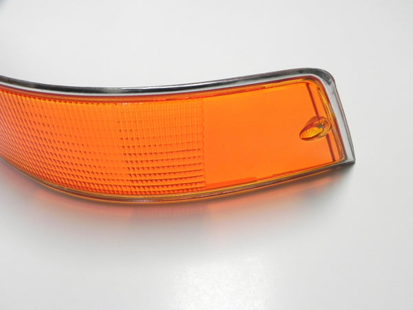 (New) 911/912 Right Side Euro Amber/Red/Clear Tail Light Lens with Silver Trim - 1969-72
