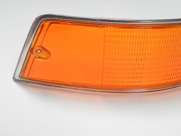 (New) 911/912 Left Side Euro Amber/Red/Clear Tail Light Lens with Silver Trim - 1969-72