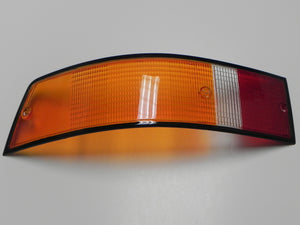 (New) 911/912/930 Left Side Euro Amber/Red/Clear Tail Light Lens with Black Trim - 1973-89