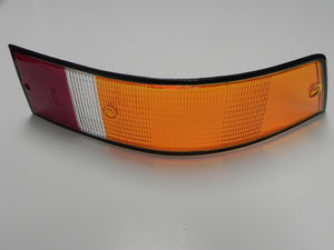 (New) 911/912/930 Right Side Euro Amber/Red/Clear Tail Light Lens with Black Trim - 1973-89
