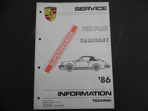 (Used) 911 Cabriolet Technical Information 1986