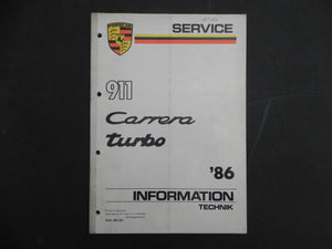 (Used) 86-911 Carrera/Turbo Service Informantion Manual