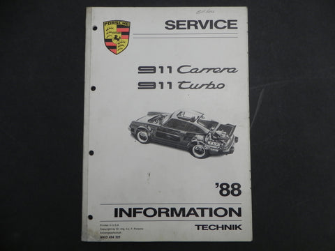 (Used) 88-911 Carrera/Turbo Service Informantion Manual