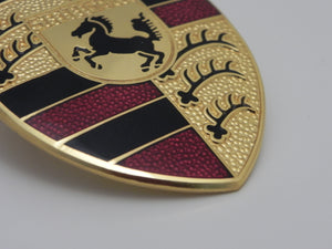 (New) Porsche Hood Crest Emblem with Maroon Bars - 1975-94