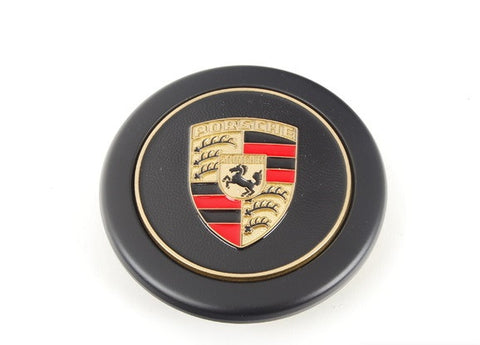 (New) 911/912/914 Black Center Caps w/ Full Colored Porsche Crest - 1970-89