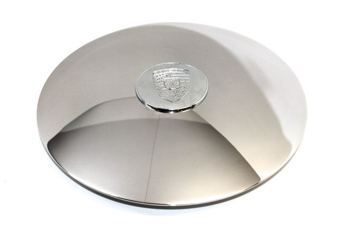 (New) 356C/SC/912 Disc Brake Hubcap with Raised Chrome Crest for 5x130 Steel Wheels - 1964-69