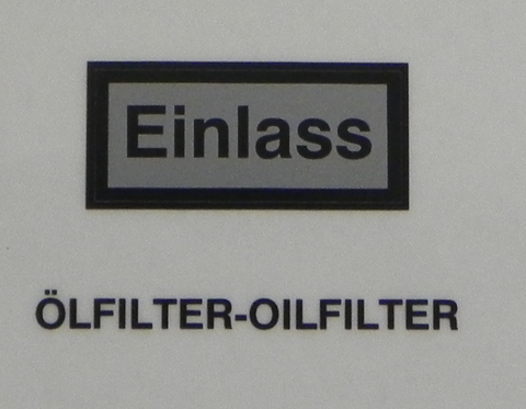 (New) 356/912 Einlass Silver/ Black Lettered Oil Filter Canister Decal - 1955-69