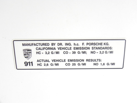 (New) 911 T/E/S California Window Emission Control Decal - 1969-73