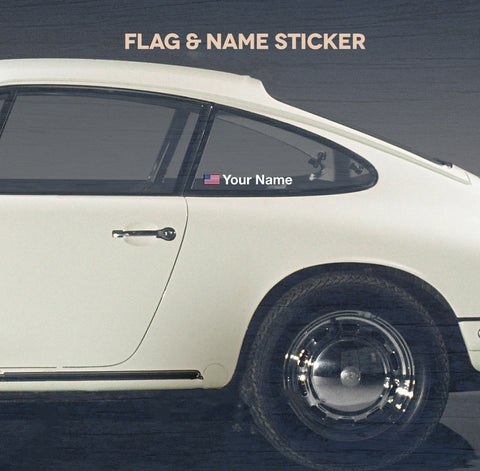 (New) Name and National Flag Window Decal Set