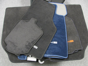 Set of 2 Boxster Floor Mats - Blue with Silver Embroidery