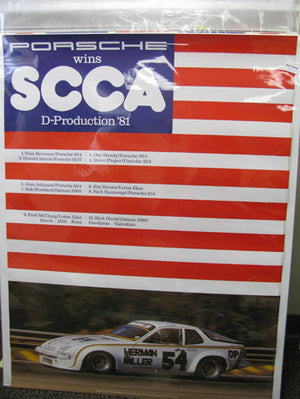 924 Porsche Wins D-Production - Red, White, Blue Poster