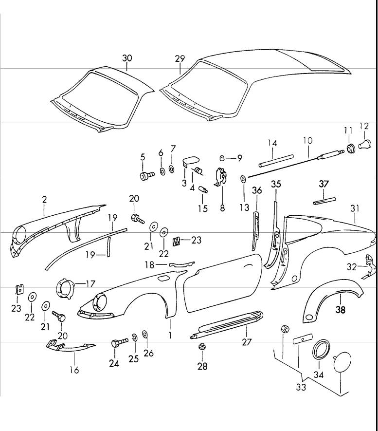 (New) Carrera RS Left and Right Rear Fender Flare Set