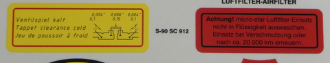 (New) 356/912 Super 90/SC Valve Clearance Decal - 1960-69