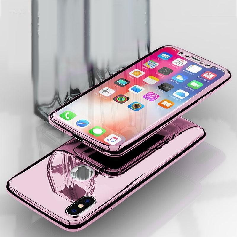 360 Full Protection Plating Mirror Case For iPhone X XS XS MAX XR