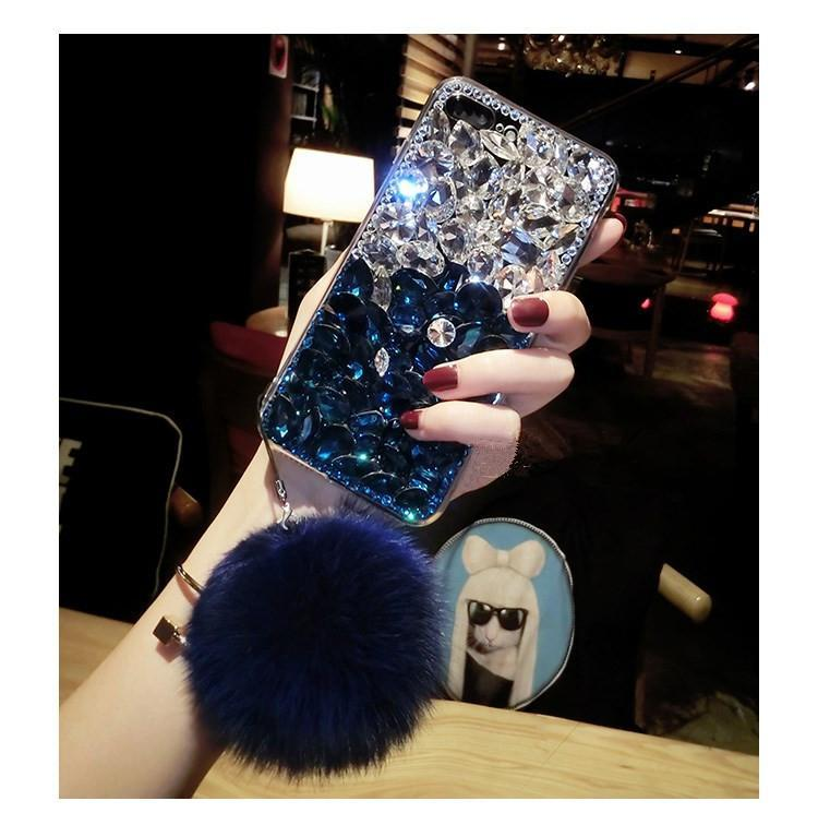 Diamond Gradient Color Plush Ball Phone Case for iPhone 6/6s/7/7p/8/8p/6p/6sp/X/XS/XS Max/XR