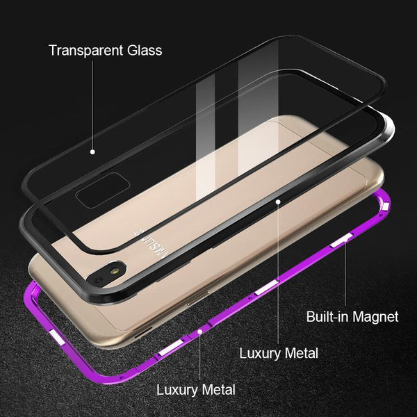 ANTI-KNOCK METAL MAGNETIC FRAME 9H TRANSPARENT Glass Protective Case for SAMSUNG S9/S9 PLUS J3 J5 J7