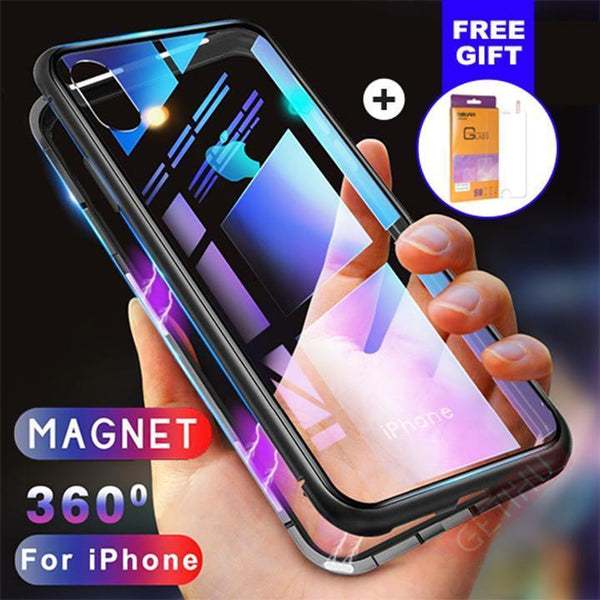 quality design 328f1 be97c METAL MAGNETIC FRAME FULL COVER Glass Protective Case With FREE Glass  Screen Protector For iPhone XS Xs Max XR  X/8/8Plus/7/7Plus/6/6s/6Plus/6sPlus - ...