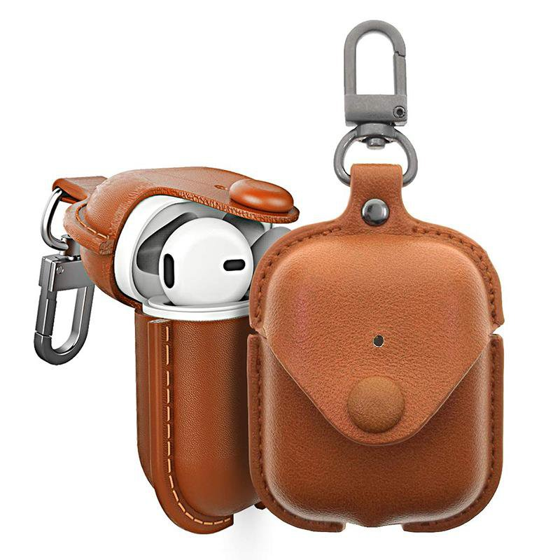 AirPods Leather Case Houbox 4 in 1 AirPods Anti Lost Strap Cover Keychain Kit Accessories Waterproof Retro Compatible Apple AirPods(PU)