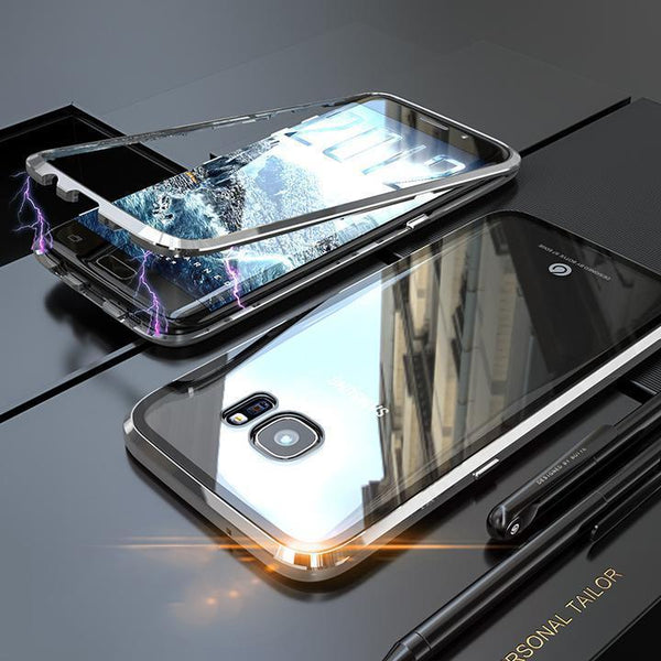 Magnetic Adsorption Transparent Tempered Glass With FREE Glass Screen Protector Phone Case For Coque SamSung S7edge