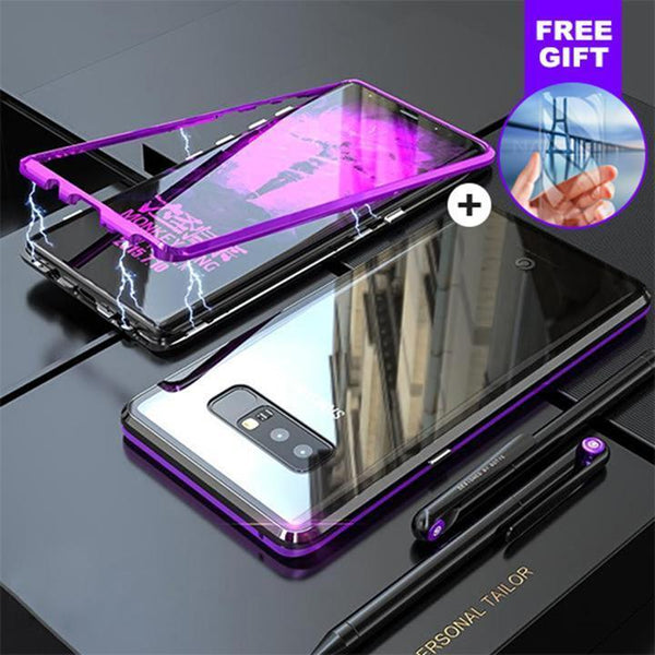 new style d7598 fa511 Magnetic Case For Samsung Galaxy Note 8 With FREE Glass Screen Protector  Magnet Transparent Clear Glass Back Cover For Galaxy Note8 Case - Black -  ...