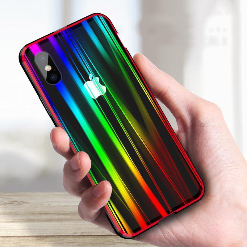 Laser Aurora Phone Case Tempered Glass Case for iPhone X Phone Case Buckle Closure Metal Bumper Hard Case for iPhone X Case