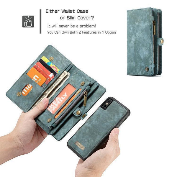 CaseMe For Samsung Wallet Case Premium Zipper Leather Purse with Detachable Flip Magnetic Cover 11 Credit Card Slots