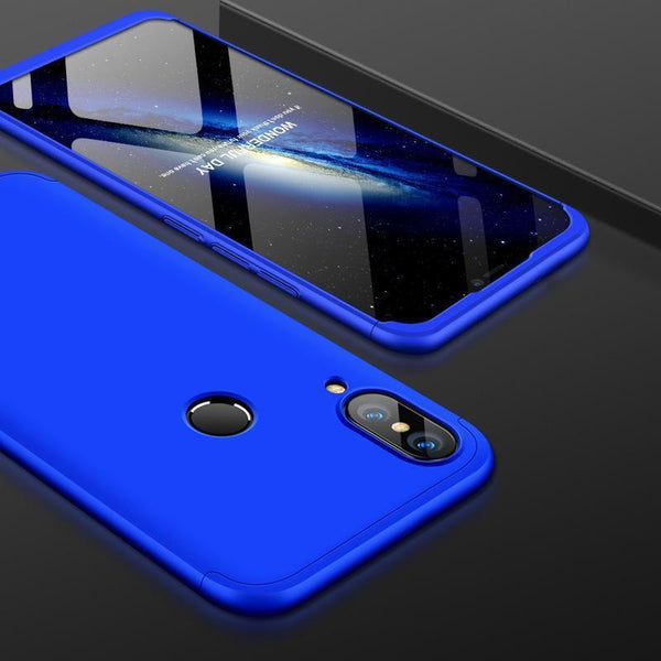 3 in 1 Double Dip 360° Degree Full Protection Hard PC Matte Coque Cover With Tempered Glass Film for HUAWEI P20 Lite
