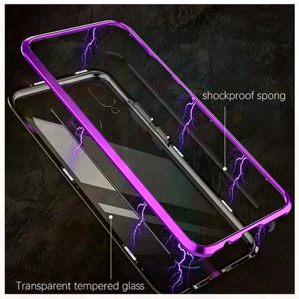 Magnetic Adsorption Transparent Tempered Glass Phone Case With FREE Glass Screen Protector For Coque Huawei Nova 3i P20Lite