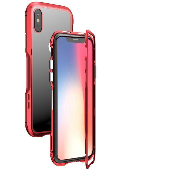 Luphie Magnetic Adsorption Metal+Tempered Glass Protective Case For iPhone X