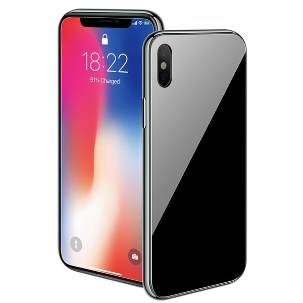 official photos c8a05 295e8 Magnetic Adsorption Full Cover Glass Back Protective Case for iPhone (Buy a  case get a free screen protector) - Black - iPhone X