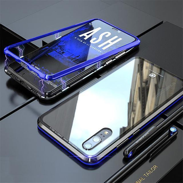 Magnetic Adsorption Metal Phone Case With Free Glass Screen Protector For huawei p20 pro Luxury Ultra Magnet Tempered Glass 360 Full Cover For huawei P20pro P20