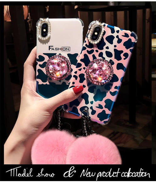 buy popular e28fb 2144b Leopard Style Popsocket Phone Case for iPhone 6 6S 7 8 Plus X XS XR XS MAX