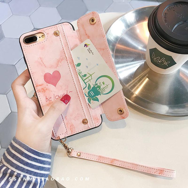 Change Card Pack iPhone Case Love Women's Creative Belt Lanyard for iPhone 6/6s/7/7p/8/8p/6p/6sp/X/XS/XS Max/XR