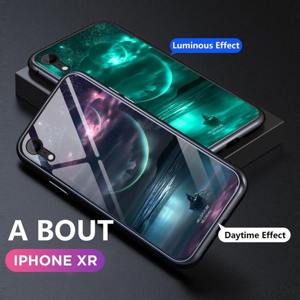 Luminous Glass Magnetic Case Luxury Metal Tempered Glass Cover Case or iPhone X/XR/XS/XS Max