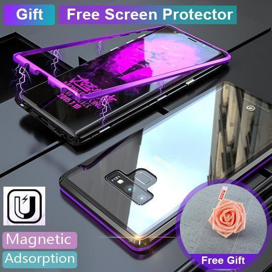save off 71e8b fd857 Magnetic adsorption transparent tempered glass phone case With Free Screen  Protector For Coque samsung galaxy Note 9 - Black - Samsung Note9